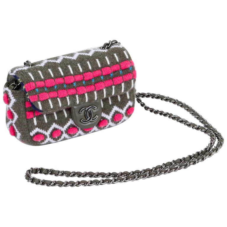 5a5e6fc97f3e68 New Chanel Olive Mini Aspen Wool Knit Crossbody Bag For Sale at 1stdibs
