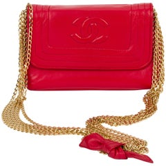 1980's Chanel Vintage Red Leather Multi Gold Chain Evening Bag