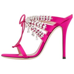 Giuseppe Zanotti NEW Pink Crystal Slide in Mules Sandals Heels in Box