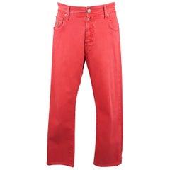 BORRELLI Size 32 Red Washed Denim Jeans