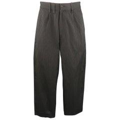 YOHJI YAMAMOTO Size 35 Charcoal Pinstripe Pleated Wide Leg Cuffed Pants