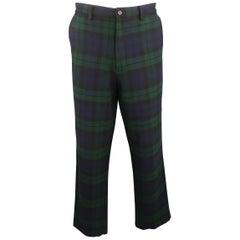 RALPH LAUREN Size 36 Blackwatch Navy & Green Plaid Wool Casual Pants