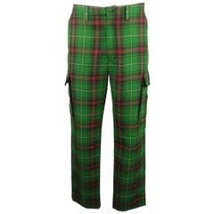 RALPH LAUREN Size 35 Green& Red Plaid Wool Cargo Pocket Pants