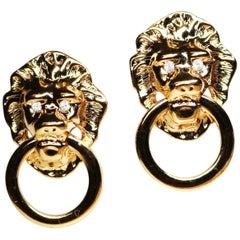 Kenneth Jay Lane Lion's Head Doorknocker Earrings