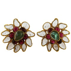 Chanel Vintage Gripoix Multicolor Poured Glass Clip On Earrings