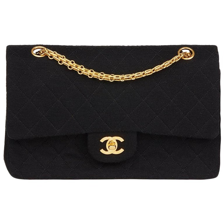 ceff122b6f3d Chanel Black Quilted Jersey Fabric Vintage Medium Classic Double Flap Bag  For Sale