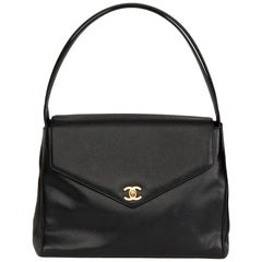 2000 Chanel Black Caviar Leather Classic Shoulder Bag