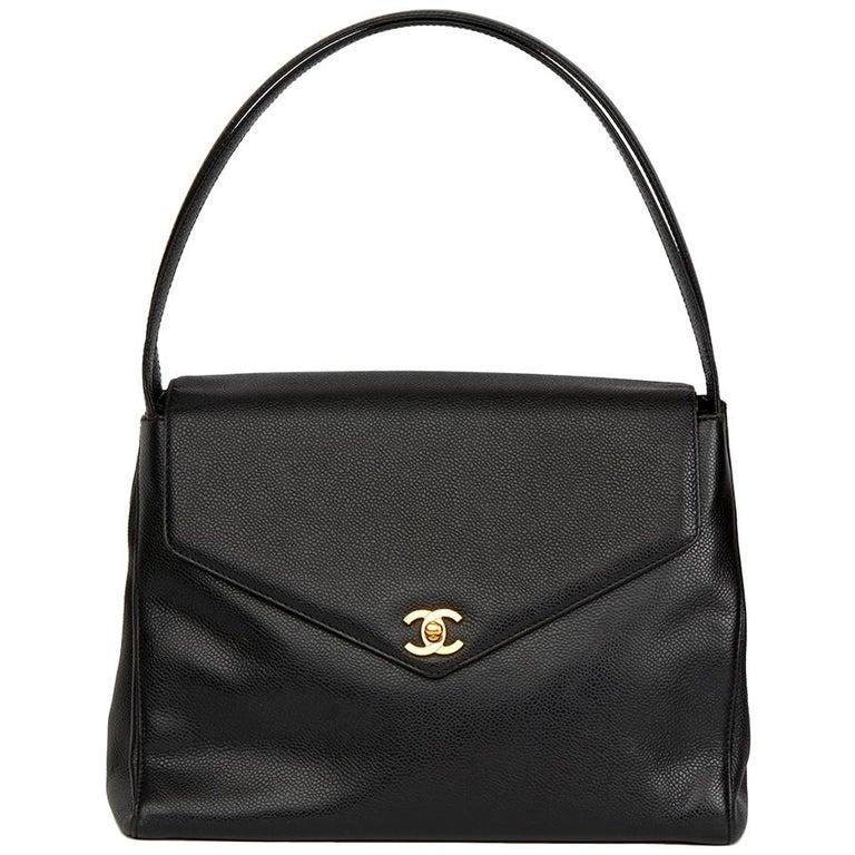 2000 Chanel Black Caviar Leather Classic Shoulder Bag For Sale