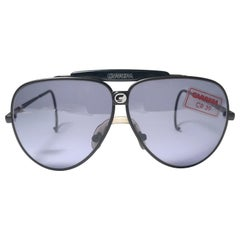New Vintage Carrera Aviator Oversized 5543 Black Large 1970's Sunglasses Austria