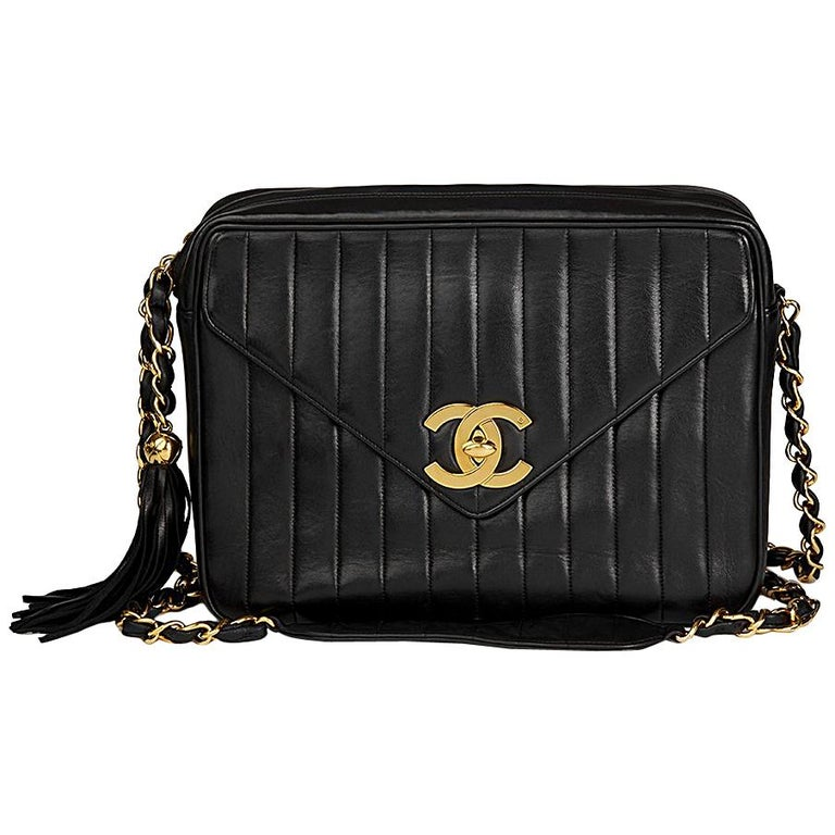 480839e46fe0 1996 Chanel Black Vertical Quilted Lambskin Vintage Jumbo XL Fringe Camera  Bag For Sale