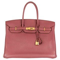 2011 Hermes Bois De Rose Clemence Leather Birkin 35cm
