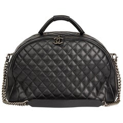 2016 Chanel Black Quilted Calfskin Large Round Trip Bowling Bag