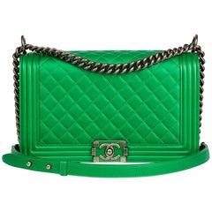 2015 Chanel Green Quilted Metallic Lambskin New Medium Le Boy