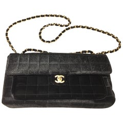 Chanel 2002 Velvet and Calfskin Poney Style Leather Black Crossbody Bag