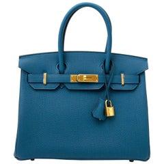 Never Used Hermès Birkin 30 Togo Cobalt GHW