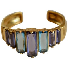 Goossens Paris Tinted Blue Rock Crystal and Gold Cuff