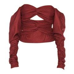 Zeynep Arcay Red Plaid Wool Bodysuit US 0-2