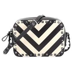 Valentino Rockstud Camera Crossbody Bag Striped Leather