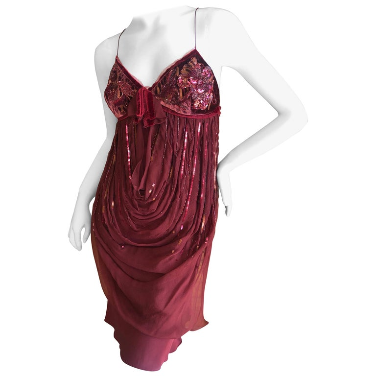 Christian Dior by John Galliano Red Draped Cocktail Dress with Lesage Beadwork  For Sale