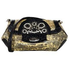 Prada Beige/Black Lizard Pochette Bag W/ Croc & Crystal Detailing