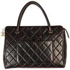 Chanel Vintage Black Quilted Handbag Satchel with Exterior Pockets