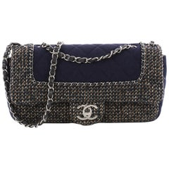 380a5825bf55 Chanel Flap with Chain Bag Quilted Tweed and Jersey Medium