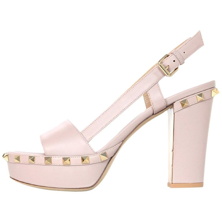 adc8eeebc55d Valentino NEW Taupe Leather Platform Rockstud Sandals Sz 38 For Sale ...