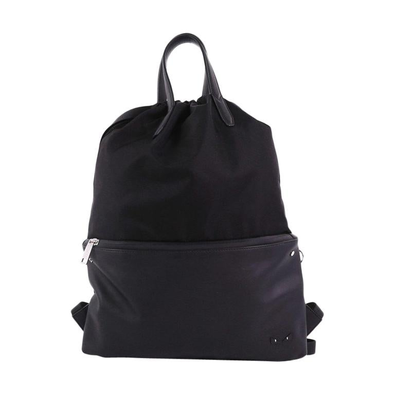 5402d5458d7e Fendi Monster Drawstring Backpack Nylon and Leather Large For Sale at  1stdibs