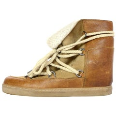 Isabel Marant Camel Shearling Nowles Lace Up Hidden Wedge Boots Sz 40