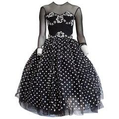 Isabelle ALLARD Paris plumetis fabric, polka dots, cotton dress - Unworn, New