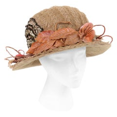 EDWARDIAN c.1900's Beige Scalloped Horsehair Floral Autumn Leaf Afternoon Hat