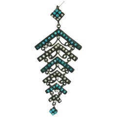 Antique Persian Turquoise and Pearl Pendant