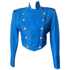 1980s Michael Hoban Blue Leather Military Style Jacket