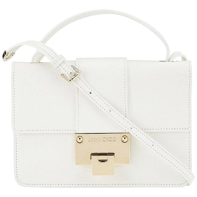 c17de09831 New JIMMY CHOO *Rebel* White Grainy Calf Leather Cross Body Bag