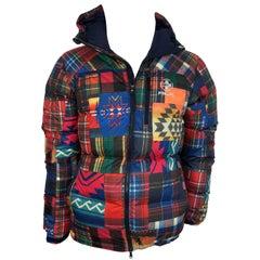Mens RLX Ralph Lauren Plaid Puffer Jacket