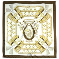"Hermes Brown/White Aux Champs 90cm/36"" Silk Scarf"