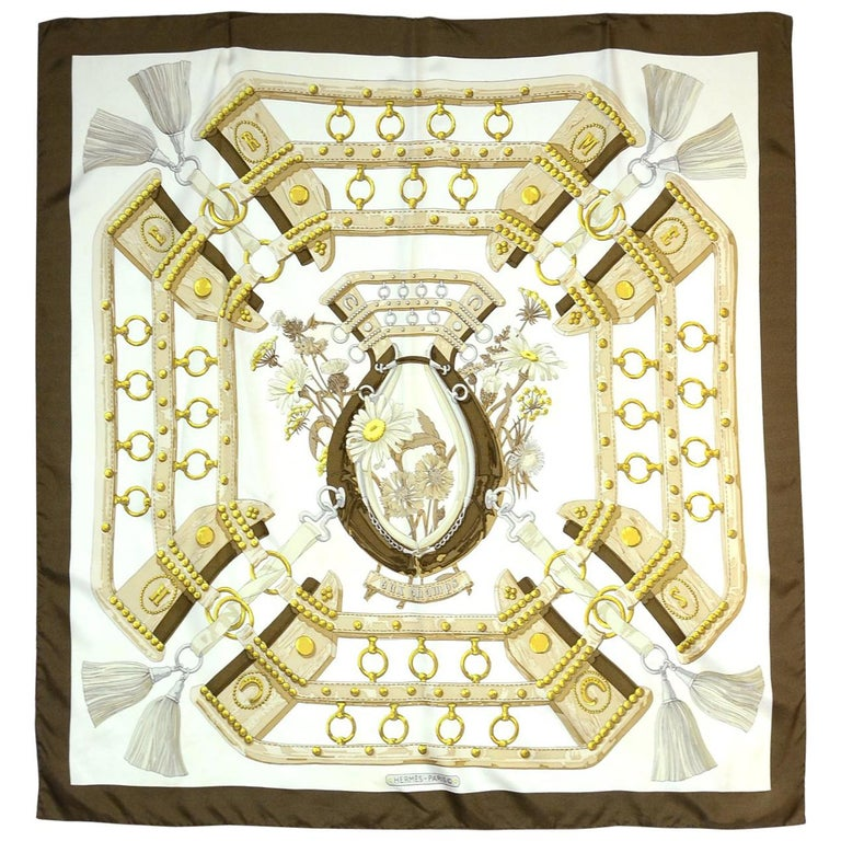"""Hermes Brown/White Aux Champs 90cm/36"""" Silk Scarf For Sale"""