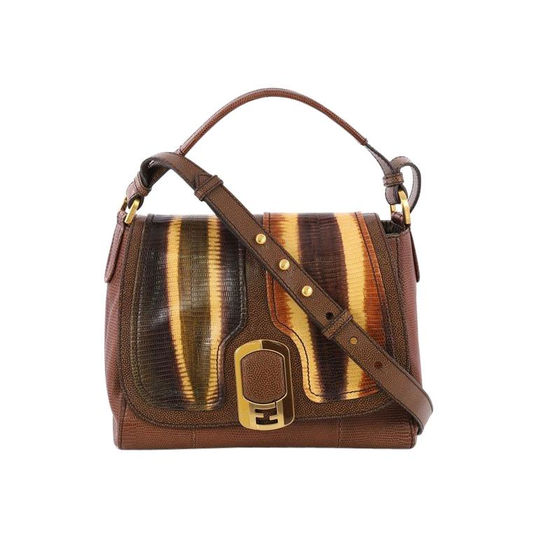 f0b8867a7a0d Fendi Anna Flap Bag Lizard and Leather For Sale at 1stdibs
