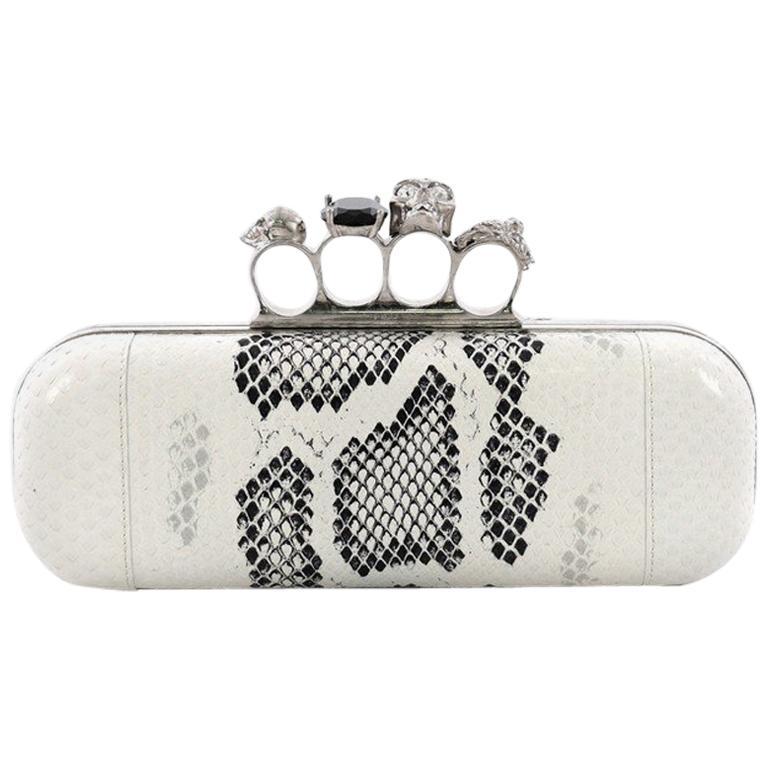 Alexander McQueen Knuckle Box Clutch Python Long For Sale