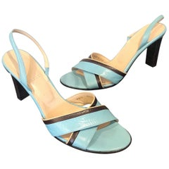 1990s Bally Sz 10 / 40.5 Robins Egg Blue Leather Vintage Stacked Heel Sandals