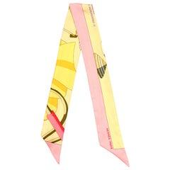Hermes Pink/Multicolor Charmes Des Plages Normandes II Silk Twilly