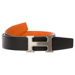 """Hermès Belt for men Reverso Togo orange/ black Box, size 90,"""" Calandre"""" buckle!"""