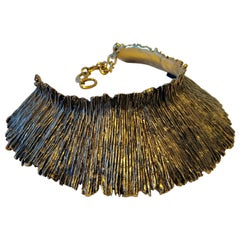 French Brutalist Style Gilt Textured Statement Necklace