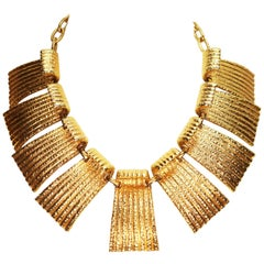 Vendome Egyptian Revival Hammered Gold Runway Statement Necklace