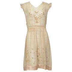 Smocked Edwardian Voile and Satin Chemise Dress, 1910s