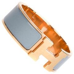 Hermès bracelet Clic H in rose gold metal and blue enamel, new !