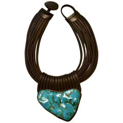 Monies Chrysocolla Stone, Ebony Wood, and Leather One of a Kind Choker Necklace