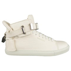Men's BUSCEMI Size 5 Off White Textured Leather Sneakers