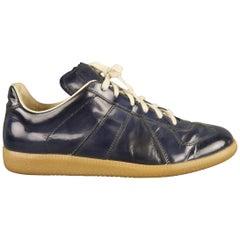 Men's MAISON MARTIN MARGIELA Size 8 Navy Leather Sneakers