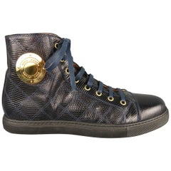 Men's MARC JACOBS Size 7 Navy Embossed Leather High Top Sneakers